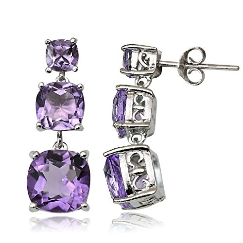 Sterling Silver Choice of Gemstone Three Stone Cushion-Cut Drop Earrings