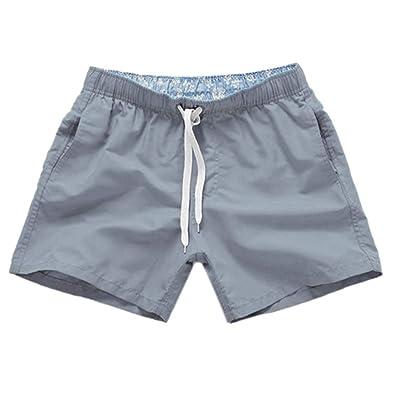 Tomppy Men's Strunks Solid Short Pants Drawstring Beach Shorts Swimmwear Bathing Suits Running Surf Sportwear: Clothing