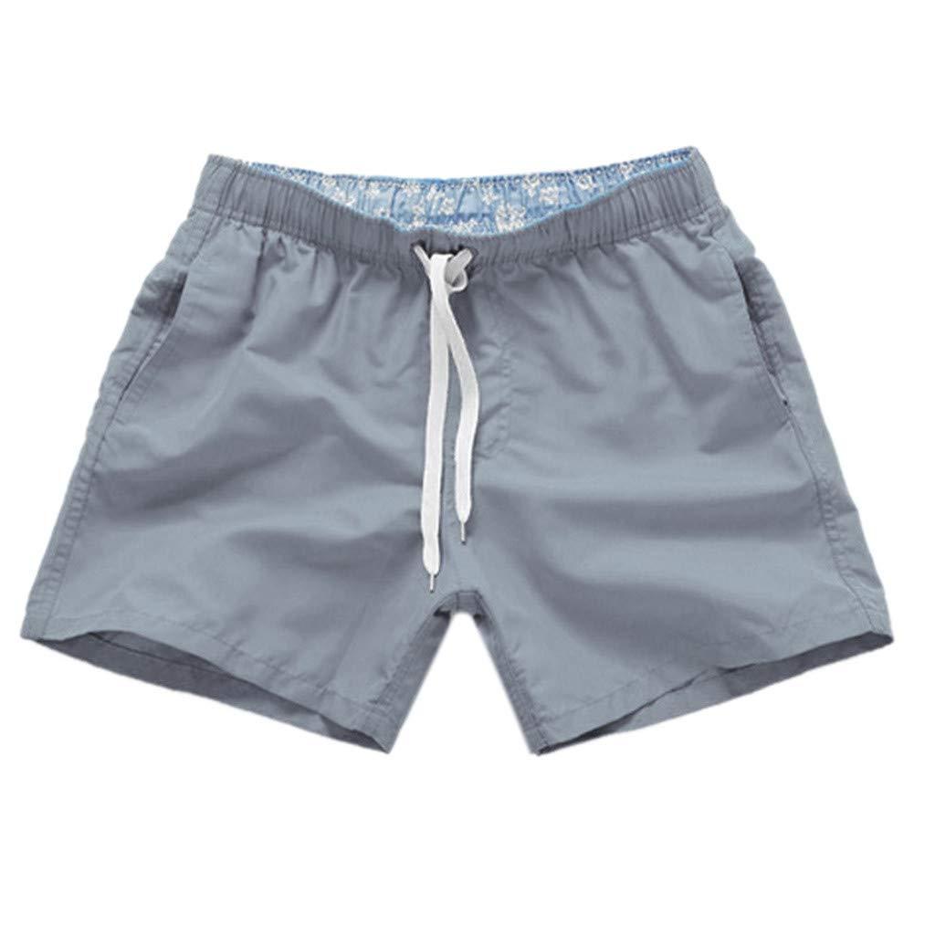 NUWFOR Men Pure Color Splice Stripe Beach Work Casual Men Short Trouser Shorts Pants(Gray,US S Waist:27.56-32.28'')