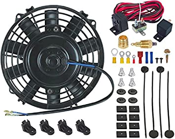 "10/"" INCH ELECTRIC FAN 12V RADIATOR COOLING 3//8/"" NPT GROUND THERMOSTAT SWITCH KIT"