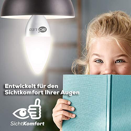 Bioled 5W, Lot de 6, Blanc Chaud 3200K, Ampoule LED C37, 5 Watt (équivalent 60W), Petite Ampoule E14 pour Ventilateur Plafond, Lustres, Lampe de Chevet, B35 Ampoules LED Candélabres, Ampoule à Bougie