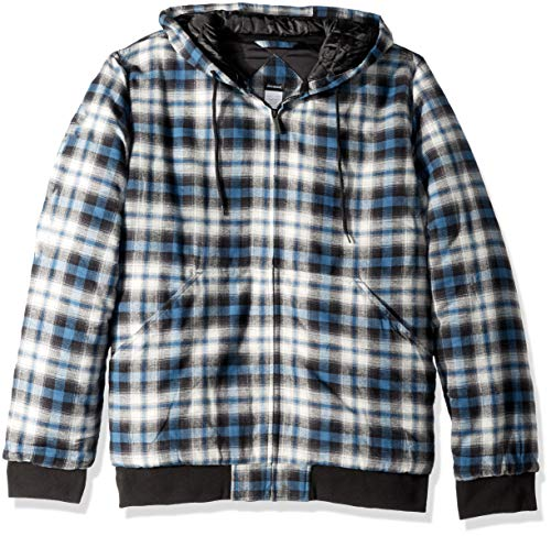 Dickies Men's Modern Fit Quilted Bomber Shirt Jacket, Executive Light Gray Insignia Blue Plaid, XL