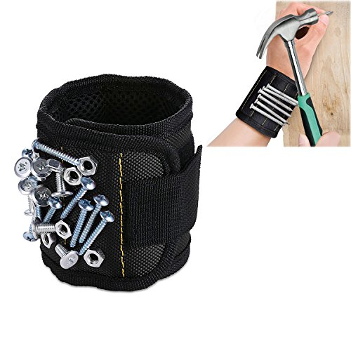 Strong Magnetic Wristband  Wrist Strap With 3 Rows Magnets For Holding Screws  Nails  Drill Bits  Bolts  Scissors And Other Small Metal Tools  Black