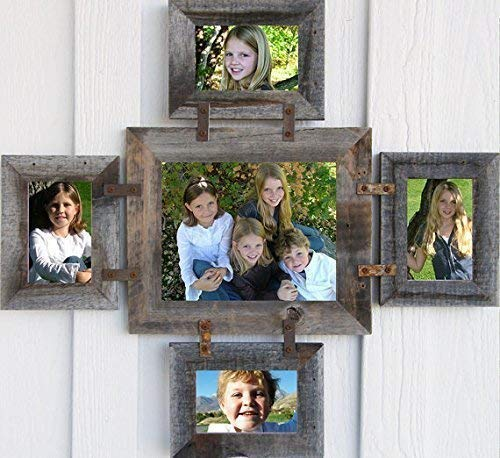 - ABW Decor Multi Photo Collage Frame One 8X10 and Four 4X6 Pictures Five Opening Rustic Multiple Farm House Style Gallery Decorative Wooden Country Custom Wall Hanging Family Living White Large Size