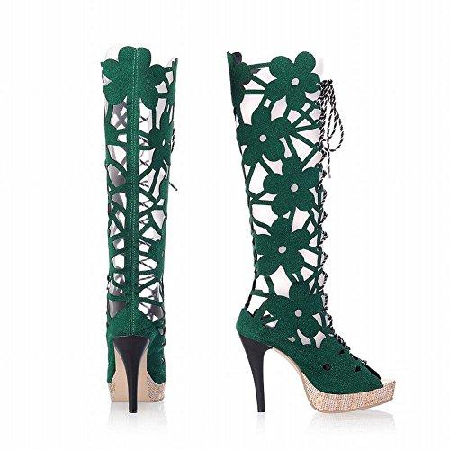 Pied De Charme Femmes Plate-forme Dété Haut Talon Peep Toe Genou Sandales Hautes Bottes Vert
