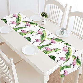InterestPrint Pink Flamingo Table Runner Home Decor 14 X 72 Inch, Tropical  Banana Palm Leaves