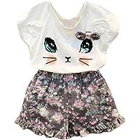 Goodlock Toddler Kids Clothing Set Baby Girls Cute Cat T-Shirt + Floral Shorts Set Clothes Suit 2Pcs