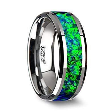 photon tungsten carbide wedding ring with emerald green and sapphire blue opal inlay with polished beveled - Green Wedding Rings