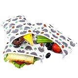 Langsprit Premium Reusable Sandwich & Snack Bags- Eco Friendly Dishwasher Safe Lunch Bags