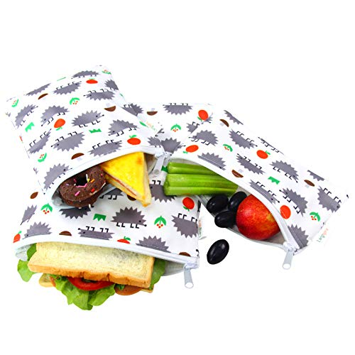 Langsprit Premium Reusable Sandwich & Snack Bags- Eco Friendly Dishwasher Safe Lunch Bags - Set of 3 - (Hedgehog)