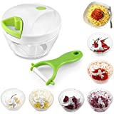 Food Chopper Vegetable Chopper Mincer Uten Handheld Manual Food Processor 3 Sharp Stainless Steel Blades Food Slicer for Salad/Fruits/Vegetables/Herbs/Onions/Sauces/Purees etc. [4-Cup Capacity,1 Pack]
