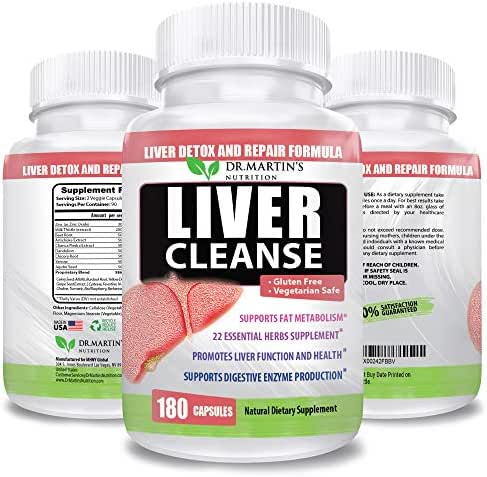 Liver Cleanse Detox & Repair Supplement | 180 Capsules | 22 Natural Potent Herbs For Your Liver | Advanced Formula For Enhanced Liver Health |Contains Milk Thistle extract, Artichoke, Dandelion & more