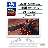 2018 HP Flagship 23.8'' Full HD All-in-One Desktop, AMD A9-9400 Processor, 8GB RAM, 2TB 7200RPM HDD, DVD, WIFI, Webcam, HDMI, Bluetooth, AMD Radeon R5 , Windows 10, Snow White