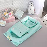 Toys Studio Baby Bassinet for Bed Portable Baby Co-Sleeping Cribs & Cradles Lounger Cushion 100% Cotton Breathable and Hypoallergenic Travel Infant Bed for Newborn 0-24 Months (Cactus-Green)