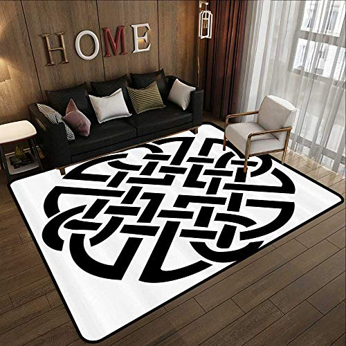 Carpet Flooring,Celtic Decor Collection,Celtic Pattern Ancient Scottish Knights Medieval Design Decorative Art Illustration,Black White 78.7