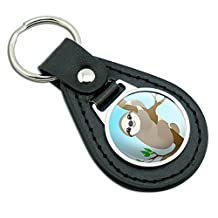 Sloth Just Hanging Around Black Leather Metal Keychain Key Ring