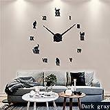 Large Wall Clock Frameless DIY 3D Modern Rome Home Decor Sticker Black Mirror Time Clock