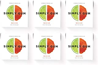 product image for Simply Gum | Natural Chewing Gum | Revive with Lime | Pack of Six (90 Pieces Total) | Plastic Free + Aspartame Free + non-GMO