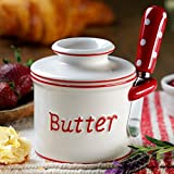 Countertop Bell The Original Butter Bell Crock and Spreader by L. Tremain, Parisian Polka Dot Collection - Red/White