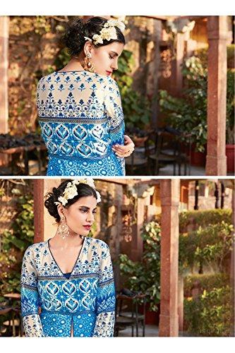 Sky Blue Salwar Facioun Wear Designer Indian Women Kameez Da Party Anarkali dnYfq077wz