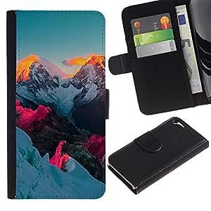 For Apple iPhone 5 / iPhone 5S,S-type® Alaska Mountain Sunset Vibrant Blue Pink - Dibujo PU billetera de cuero Funda Case Caso de la piel de la bolsa protectora