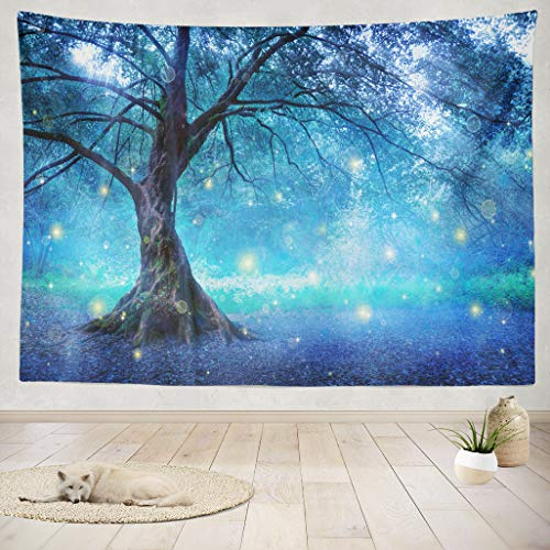 ASOCO Tapestry Wall Handing Tree Fantasy Magic Forest Fairy Enchanted Nature Dreams Blue Green Imagination Lonely Wall Tapestry for Bedroom Living Room Dorm 60X80 Inches (Enchanted Fairy Forest)