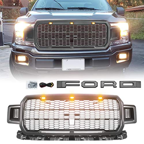 Modifying Front Grille Grey Fits 2018 2019 FORD F150 Rapter Style Grill Kits with 3 Amber LED Lights, Wiring Harness, Grey Letters(This Grille Works with the Factory Front Camera) (2018 Ford F150 Grill Emblem)