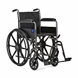 """Medline K2 Wheelchair with Full-Length Arms and Swing-Away Footrests for Easy Transfers, 18"""""""