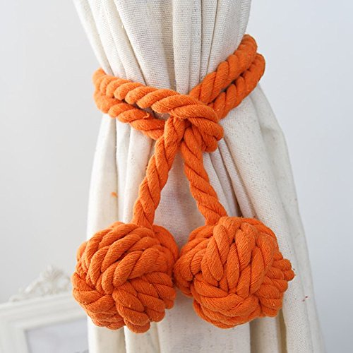 Loghot Fine Hand Tied Curtain Clip Drapery Tassels Curtain Tiebacks/Tassel Window Cotton Rope Tie Ball Back Accessories 47.2 Inches (Orange) (Outdoor Tassels)
