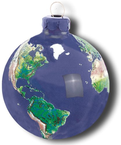 Earth Ornament, Glass With Natural Earth Continents, More Than 50 Rivers Visible, 2.5 Inch Diameter ()