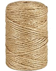 328 Feet 3mm Natural Jute Twine, 3Ply Thick Heavy Duty Packing Materials String Brown Garden Twine for Arts, Crafts and Gift Wrapping