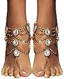 Bienvenu 2 PCS Crystal Beach Wedding Foot Jewelry Barefoot Sandals Toe Ring Boho Anklet with Multi Tassel,Golden