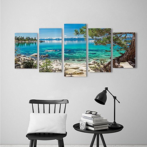 Frameless Lake Tahoe Snowy Mountain Reflecti Clearwater Rocky Shore Romantic for The Kitchen, Dining Room, Living Room, Bar and so on (Clearwater Glass Panels)