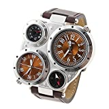 Oulm Fashion Multi-Function Men Wristwatch with Compass/Thermometer Function Brown Leather WatchBand Military Outgoing Watch