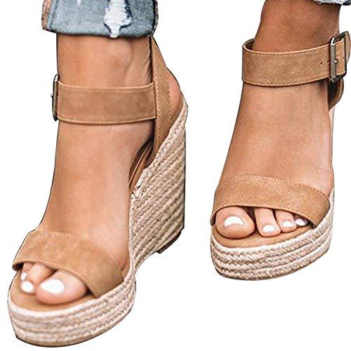 83dd5227c XMWEALTHY Women's Wedge Sandals Casual Sandals Shoes Summer Ankle Buckle Open  Toe Platform Wedges Heels Size