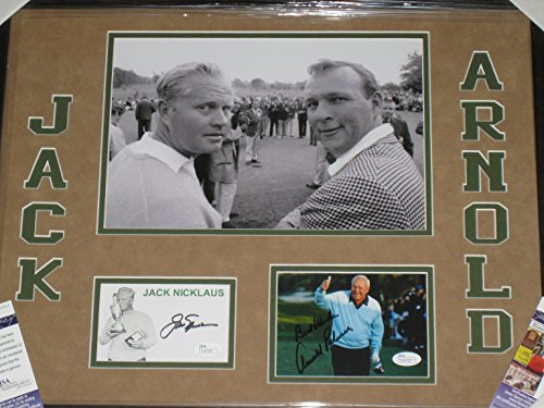 Arnold Palmer Jack Nicklaus PGA Tour Autographed PostCard & Photo - Framed Collage - JSA COA by Miller's Sports...