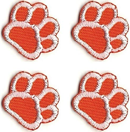 - Lot of 4 Orange White Dog Animal Paw Print Embroidery Patch