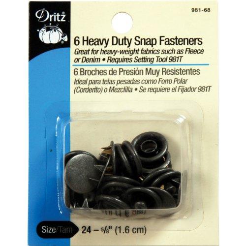 Dritz Heavy Duty Snap Fasteners-Antique Silver - Size 24 - 5/8 inch - 6 Count Dritz Heavy Duty Snap