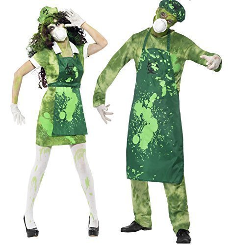 Fancy-Me Couples Mens Ladies Zombie Bio-Hazard Toxic Waste Halloween Costumes Outfits (Ladies UK 16-18 & Mens -