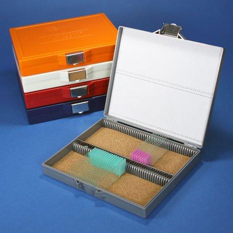 Stellar Scientific - Microscope Slide Storage Box, Cork Lined, Holds 100 Slides, stanless-Steel Lock - Each