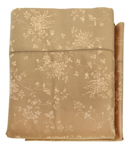 Cotton/Silk Floral Pillowcases - Standard pair - Camel