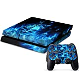 Consoles Ps4 Best Deals - Vinyl Decal Protective Skin Cover Sticker for Sony PS4 Console And 2 Dualshock Controllers Blue and Black