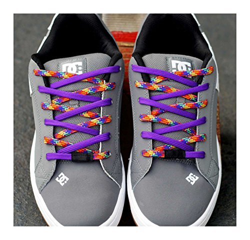 Easy Tie Shoelaces Purple/Rainbow 37'' - 94cm by Easy Tie (Image #1)