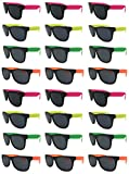Bulk Kids (24) Sunglasses Bulk Party Pack Assorted Cool Colors Neon Sunglasses-UV 400 Protection Better Quality Guaranteed