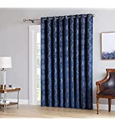 Linen Zone 100% Blackout Navy Blue Curtains for Patio Door. Use Extra Wide Total Blackout Drape A...