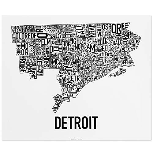 Detroit Neighborhoods Map Art Poster, Black & White, 24