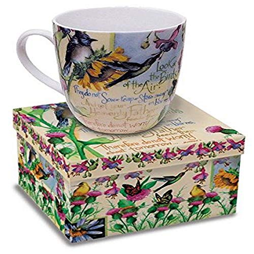 12 Oz. Wild Bird Ceramic Coffee Mug with Bible Verse Matthew 6:26 Gift Boxed