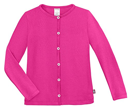 (City Threads Girls Cardigan Top Button Down Sweater Layering School Play for Sensitive Skin SPD Sensory Friendly, Hot Pink, 16)
