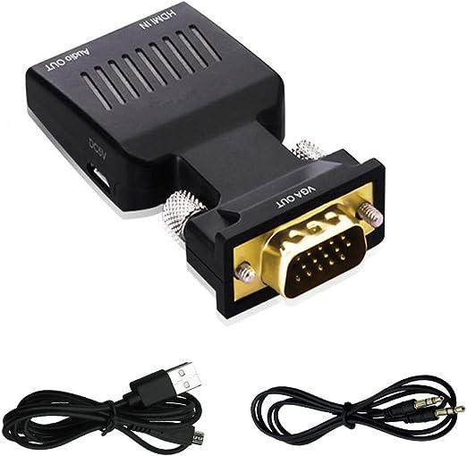 Kentop adaptador de HDMI a VGA con audio HDMI a VGA TV Convertidor ...