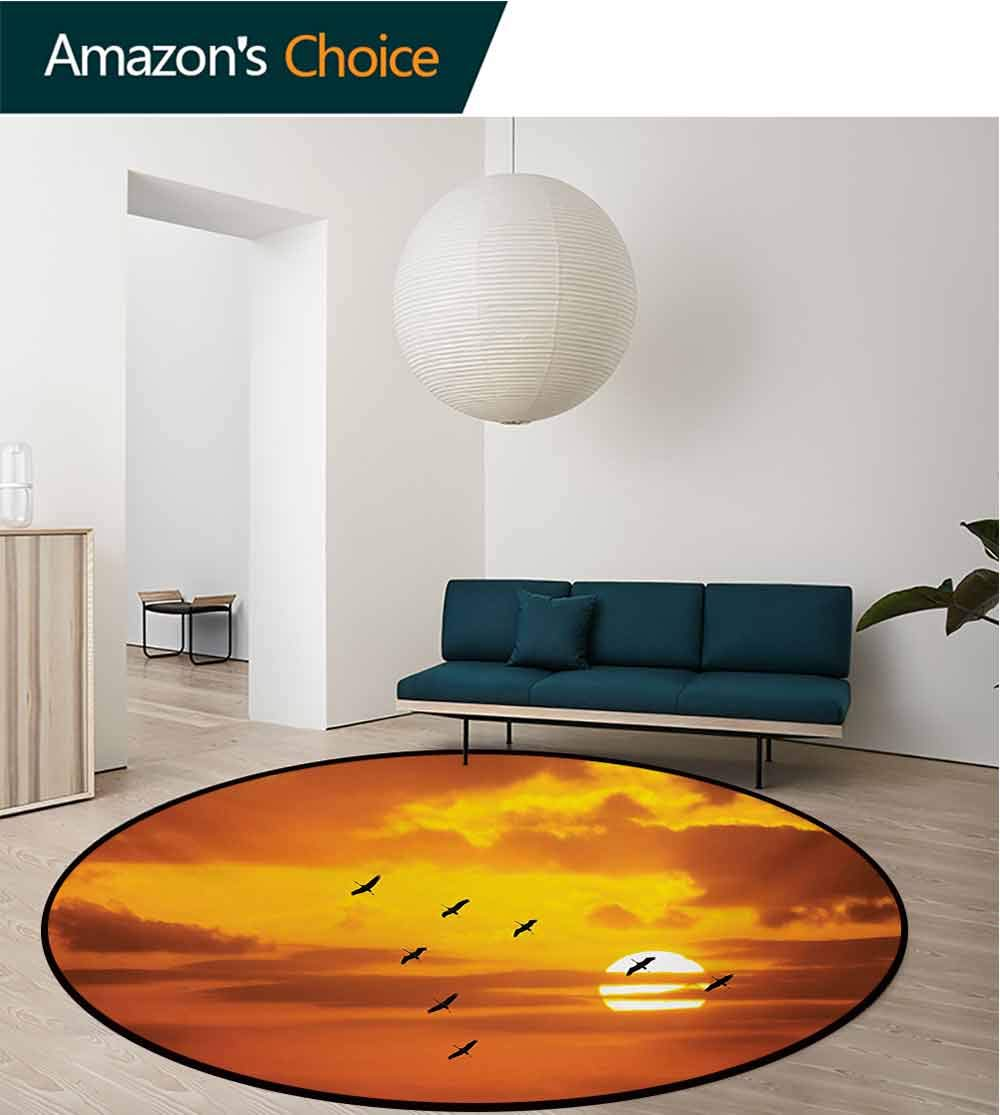 RUGSMAT Birds Rug Round Home Decor Area Rugs,V Shaped Formation Flying in Cloudy Scenic Sky with Majestic Sunset Cloudscape Print Non-Skid Bath Mat Living Room/Bedroom Carpet,Diameter-59 Inch